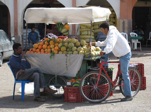 Local fruit cart: A fruit stall on the side of the road Morocco