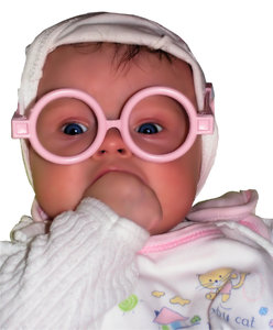 Baby with the glasses: Happy baby with the plastic glasses