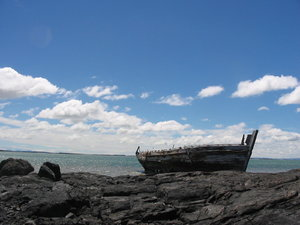Abandoned boat: The HMAS Sheffield, abandoned in Bluff, New Zealand.