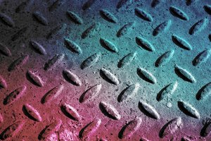 Grunge Metal Plate 3: Diamond textured metal plate with a colour twist.