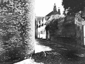 cobbled street black and white