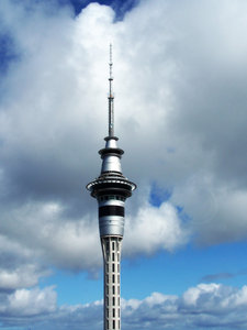Auckland's Landmark: Sky tower, in Auckland, New Zealand. Taken from BNZ tower.I am not inclined to bungee from there... in fact not inclined to bungy at all...photography feels safer.sorry, note there is a slight lens flare as this was taken through glass with a point&sh