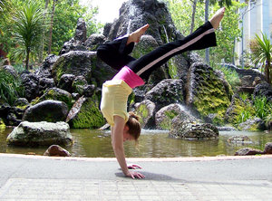 Handstand girl: gymnast doing handstand beside water fountain, Fitzroy gardens, Melbourne.  Pity the background competes.  Please let me know if you use this photo (no restrictions) and what for....comments appreciated on all photos