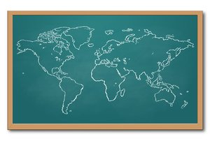 World map on a chalkboard: useful image to illustrate travel, global business, education, globalization, etc.