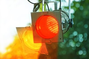 Stage lights: yellow and red stage lights