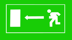 Emergency exit: A sign. Please let me know if you decide to use it!