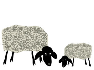 Grazing sheep 2: Cute cartoon sheep grazing.