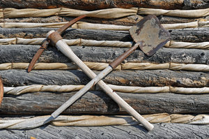 Shovel & Pick Axe: taken in Yellowknife, NWT - vintage log cabin