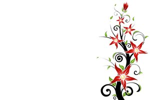 Fiery Flower 1: Decorative motif with red flowers