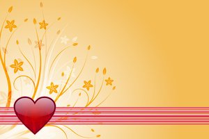Valentines Background 2: Striped red heart with flowers on a yellow background