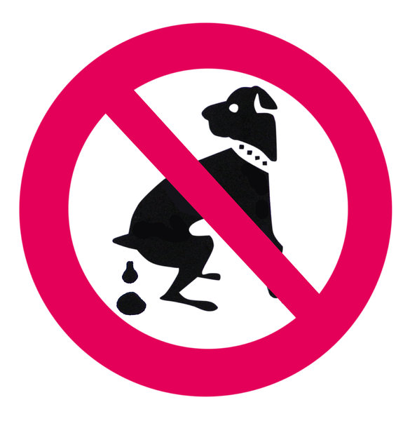 No dogs: No dogs allowed. Or dogs poops.
