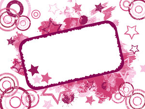 Grunge Card 2: Invitation card or label.  Grungy stars, circles, paint and splats background.  Pink theme.  Lots of copy space,