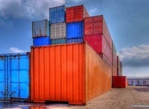 Containers on shore - HDR: Containers on shore. Stacked and just waiting. The picture is HDR using 7 images.