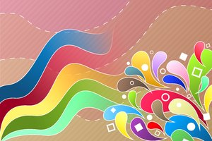 Spring Colors Explosion 1: Colorful, spring wallpaper with various elements such as flowers, circles, squares, strips, etc.