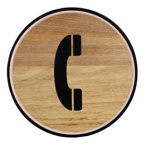 Phone: Wooden button. Phone.