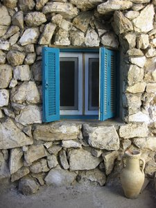 stone house: stone house with blue window