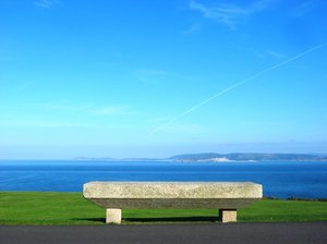 Park bench: Bench placed in San Pedro's Park. Atlantic ocean viewed from Coruña city. Galicia. Spain. EU