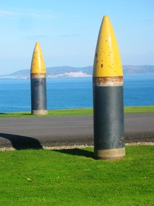 Gun bullets 2: Different bullets from old cannon placed in Bens Park (Coruña, Galicia, Spain, UE)