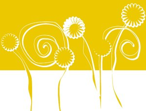 Floral Graphic: A graphic sketch of floral shapes in yellow and white. Makes a great design element.