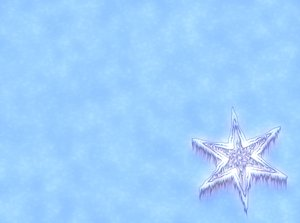 Icy Snowflake 2: Snowflake or star against a snowy background. Plenty of copyspace.