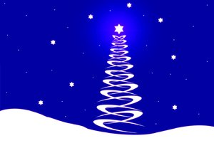White Christmas Tree on Blue: Christmas graphic of a white Christmas tree on snowy hills against a deep blue sky. You may prefer this:  http://www.rgbstock.com/photo/2dyX2mp/Fantasy+Christmas+Tree