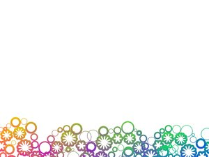 Modern Abstract Border: A simple border of abstract circles and flowers. Rainbow colours.