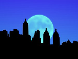 City Sillhouettes With Moon 3