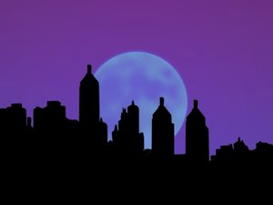 City Silhouettes With Moon