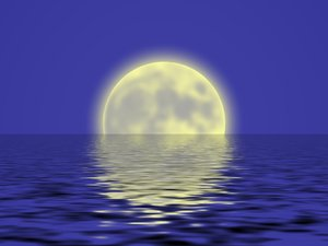 Graphic - Summer Moon Rising: A graphic of a large moon rising over water. Romantic background.
