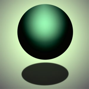 Green Sphere: Floating or bouncing orb with shadow.