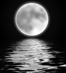 Full Moon Over Water: Romantic graphic of a moon over water. Could also be used for Halloween.