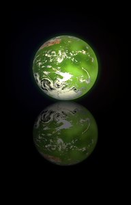 Green Planet: A green planet with swirling clouds and a reflection. Useful to illustrate ecology,global warming,conservation,humanity - among other things.