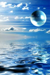 Alien Landscape: A sphere, planet or orb floating above water. Great science fiction illustration.