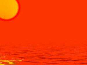 Red Hot: Blazing sun over tropical water. Graphic depicting hot weather.