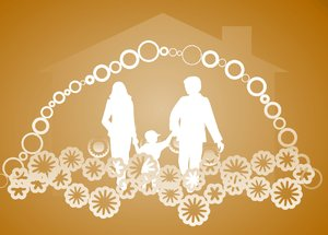 Happy Family Happy Home 3: Silhouettes of a happy family with symbolic decorations and a house shape in the background. None of my images are to be redistributed. Silhouettes from Manfreid Klein - free to use commercially.