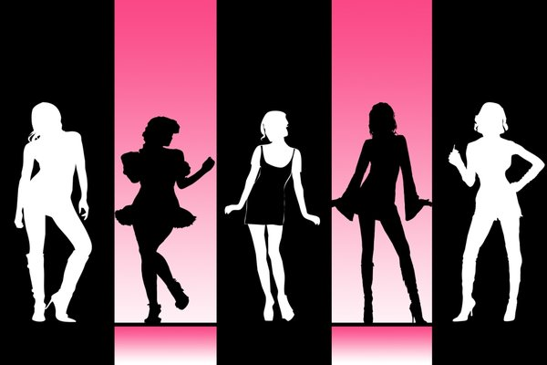 Girls: Line-up of girls against a coloured backdrop