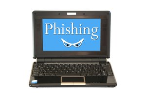 Phishing: Computer with on-screen phishing warning