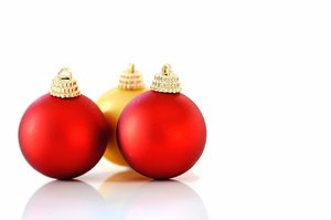 Baubles: Christmas baubles against a white background