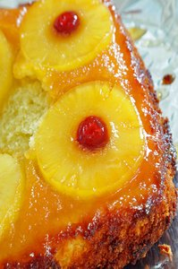 Pineapple Cake: Pineapple upside down cake closeup