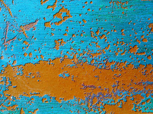 Pepaint: Peeling paint on a small fisherman's boat. Playa de Xeraco, Valencia.