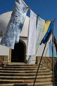 Hanging out clothes & old mosq: Hanging out clothes & old mosque in Vila do Conde (Portugal)