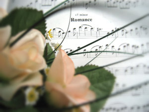 Romance: Soft focus on a romantic musical piece