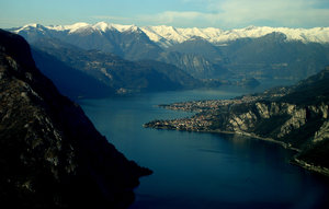 Flying on lake of Como (Italy)