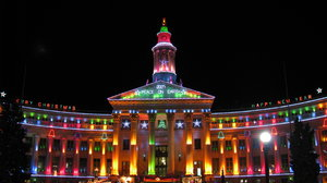 Denver City & County Build: This is the Denver City & County Building in Colorado. They decorate for Christmas like this every year and then leave it lit for the National Western Stock Show in January.
