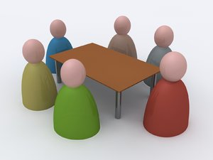 Meeting: An abstract picture of a meeting around a table