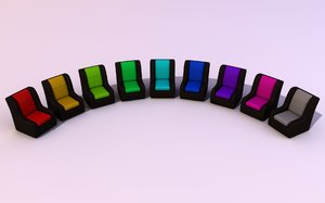 Couche: Color Variations: An abstract picture of a blakc leather couche with the seats in 9 different colors, positioned in a half circle on a soft background