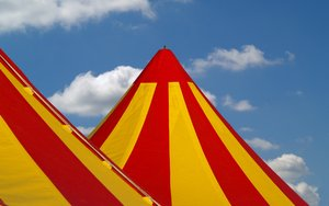 Circus tents: Circus tents, big tents on a sunny summerday.