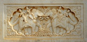 Elephants in marble: Beautiful white marble carving (elephants) at a burial memorial of a maharaja in Gaitor, Jaisalmer, India