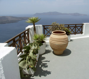 Balcony in Santorini-Oia: Balcony in Santorini-Oia, Greece