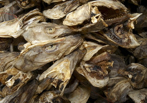 fish heads: Dryed fish heads means waste in Norway, but they export it to Afrika, where it is a food....